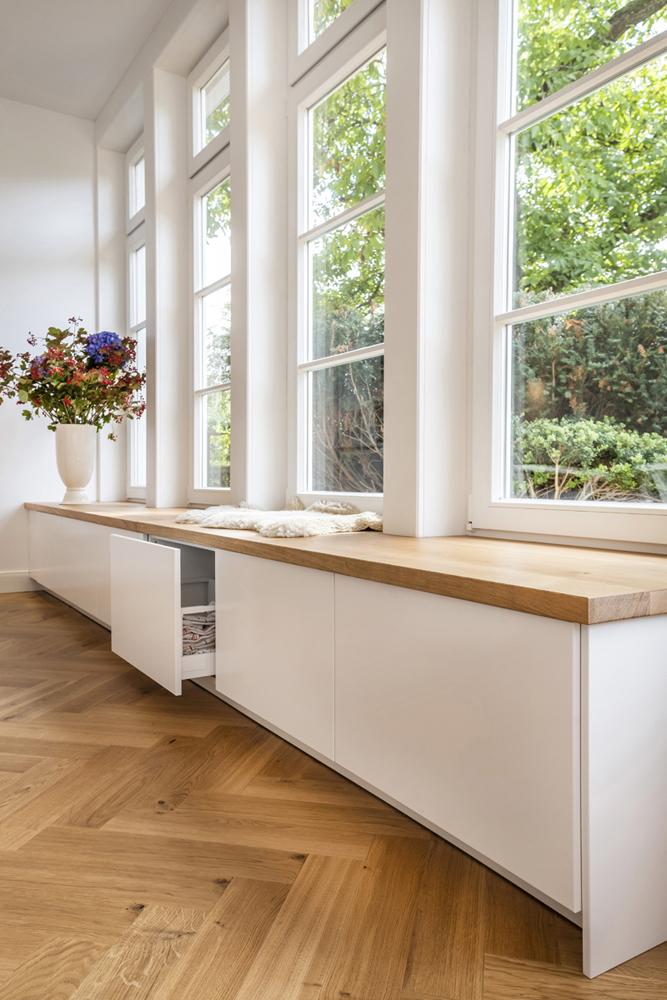 sitzbank mit schubladen architektin. Black Bedroom Furniture Sets. Home Design Ideas